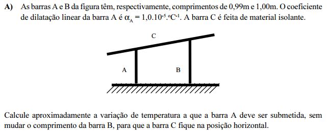 As barras A e B da figura têm, respectivament N9dl0