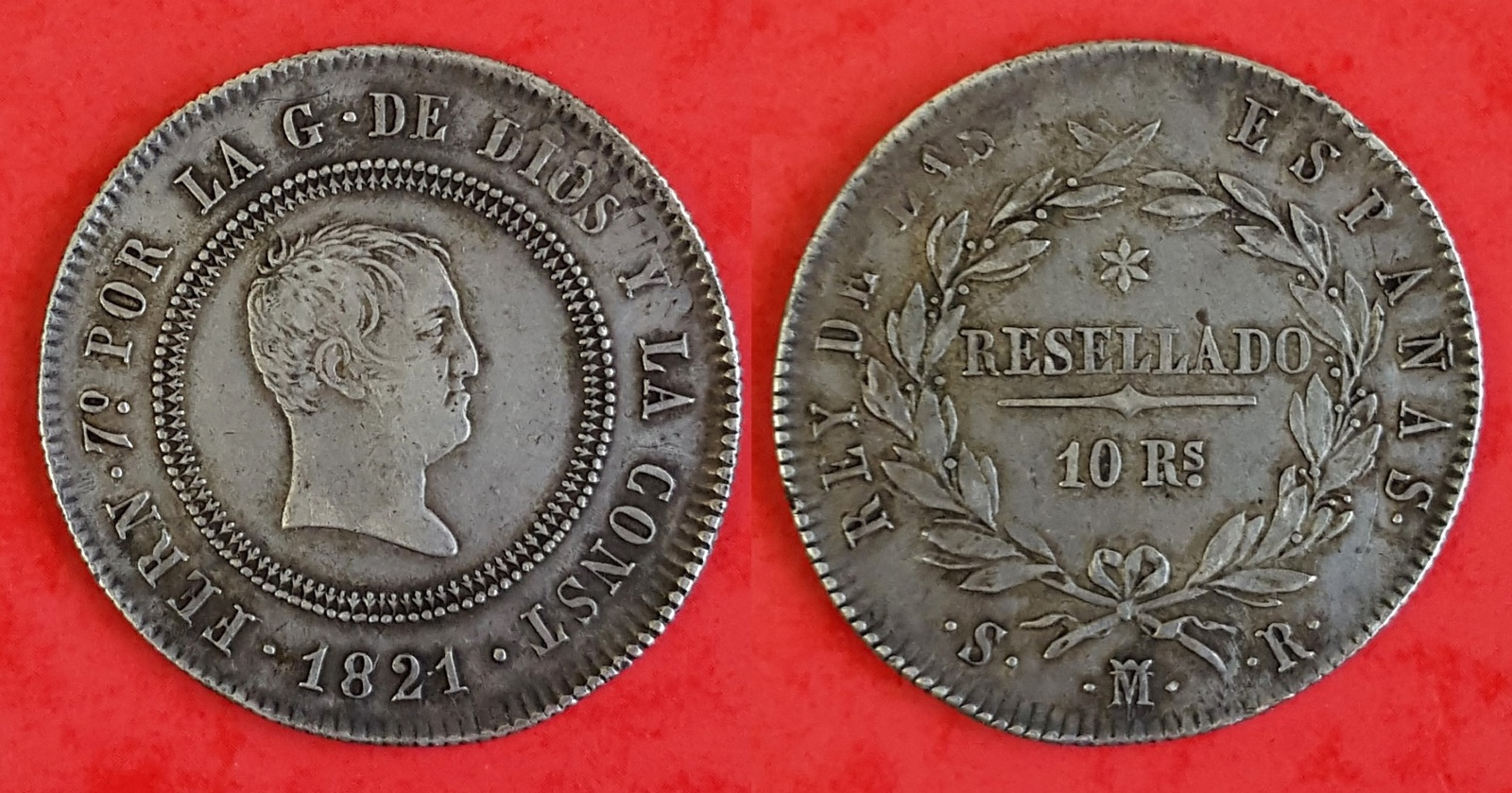 10 reales 1821. Fernando VII. Madrid X2m1lc