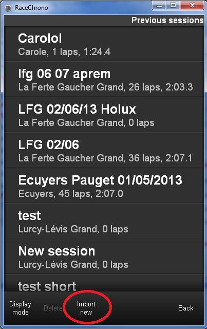 Race Chrono (chronomètre GPS gratuit) - Page 3 4_previous_sessions