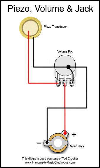 """Cigar Box"" collegamento piezo, potenziometro, jack (femmina) 2-PiezoVolumeJack1"