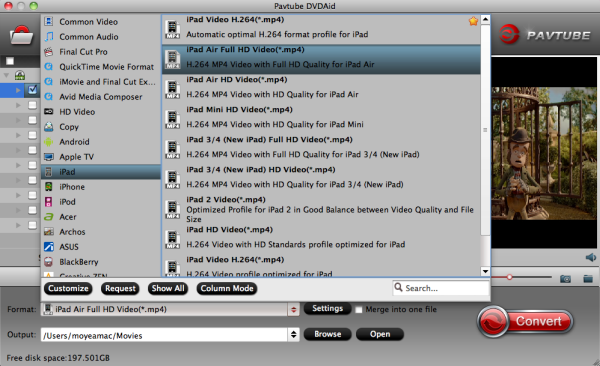 How to Convert DVD on OS X 10.10 Yosemite using the best OS X 10.0 DVD Ripper? Ipad-air-format