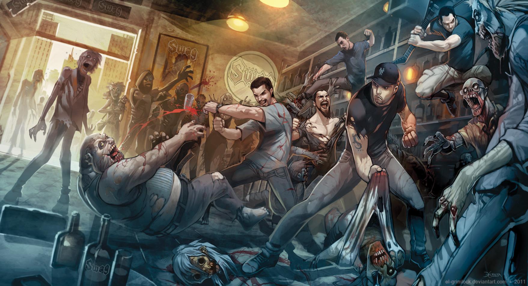 1.5 Let's get this party started, the flesh make me bad. Zombies_everywhere_by_el_grimlock-d4801zr