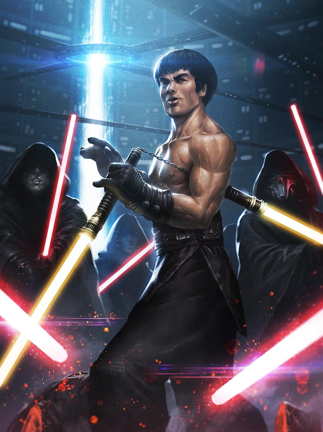 Star Wars 7 - Page 7 Bruce_lee_jedi_by_ameeeeba-d9n1upv