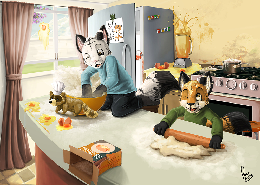 [bank] Les artistes que vous adorez - Page 11 Mess_in_the_kitchen_by_pandapaco-d6em4lo