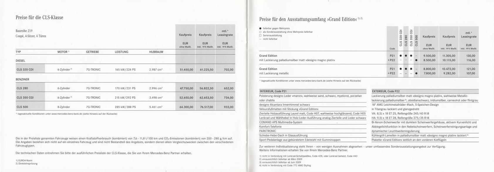 """(C219): Catálogo 2009 """"Grand Edition"""" - alemão 008"""