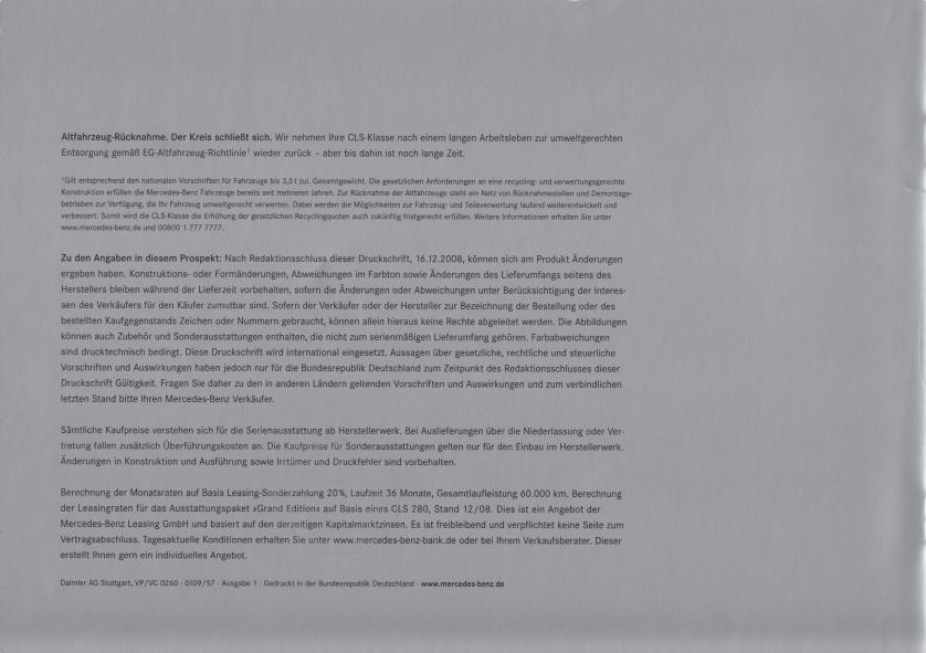 """(C219): Catálogo 2009 """"Grand Edition"""" - alemão 009"""