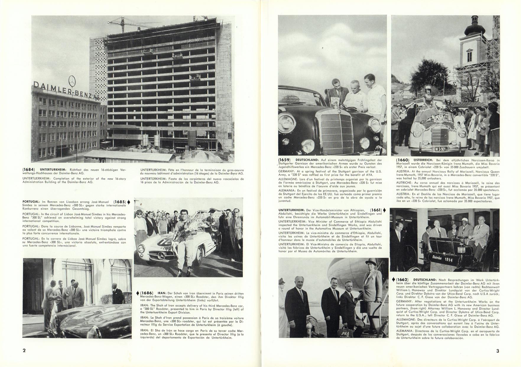 (REVISTA): Periódico In aller welt n.º 12 - Mercedes-Benz no mundo - 1957 - multilingue 002