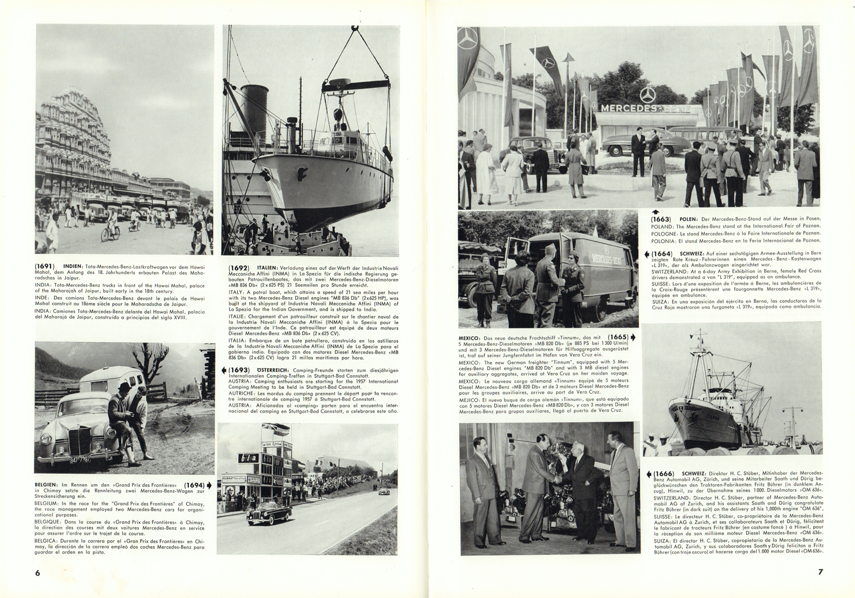 (REVISTA): Periódico In aller welt n.º 12 - Mercedes-Benz no mundo - 1957 - multilingue 004