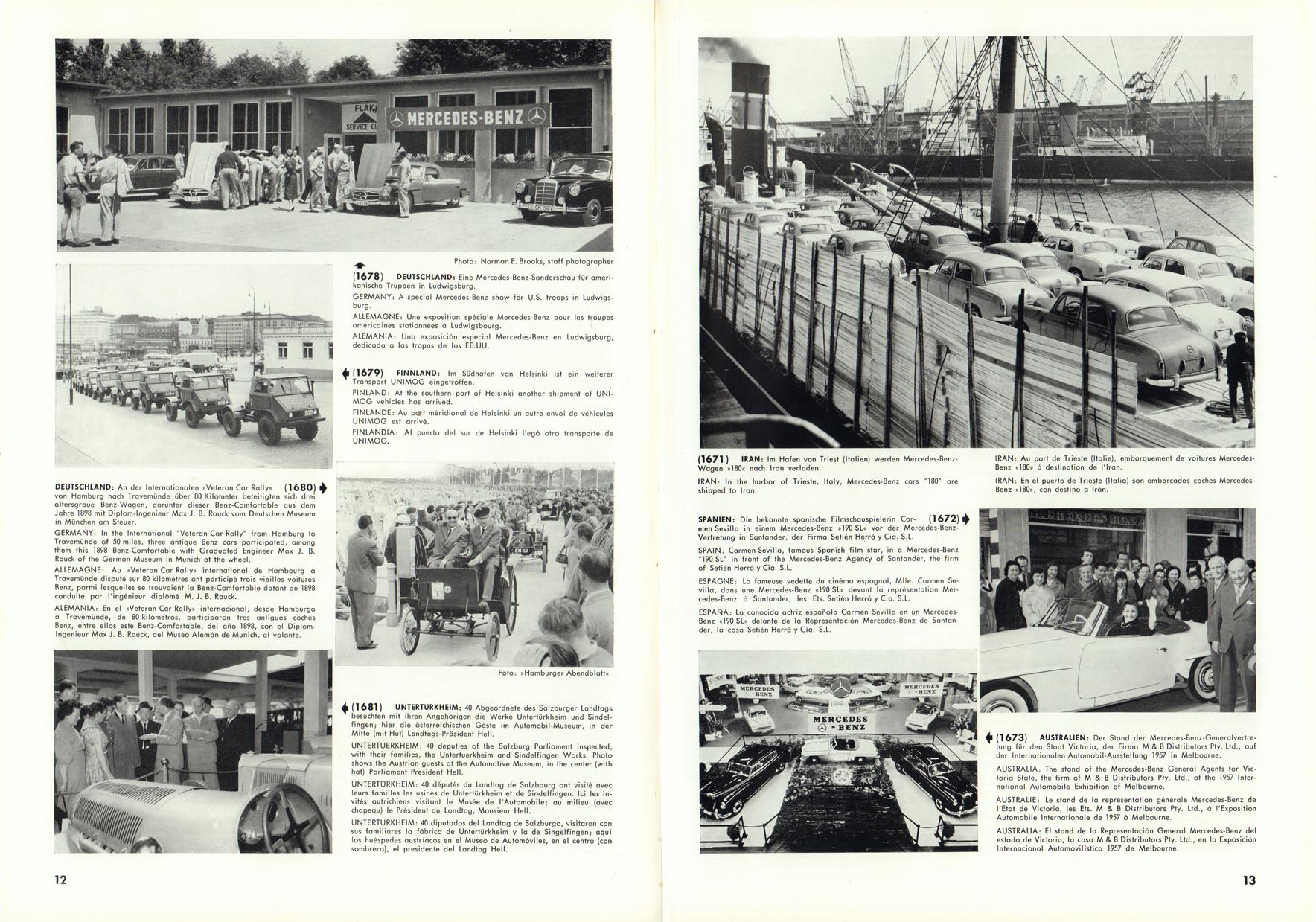 (REVISTA): Periódico In aller welt n.º 12 - Mercedes-Benz no mundo - 1957 - multilingue 007