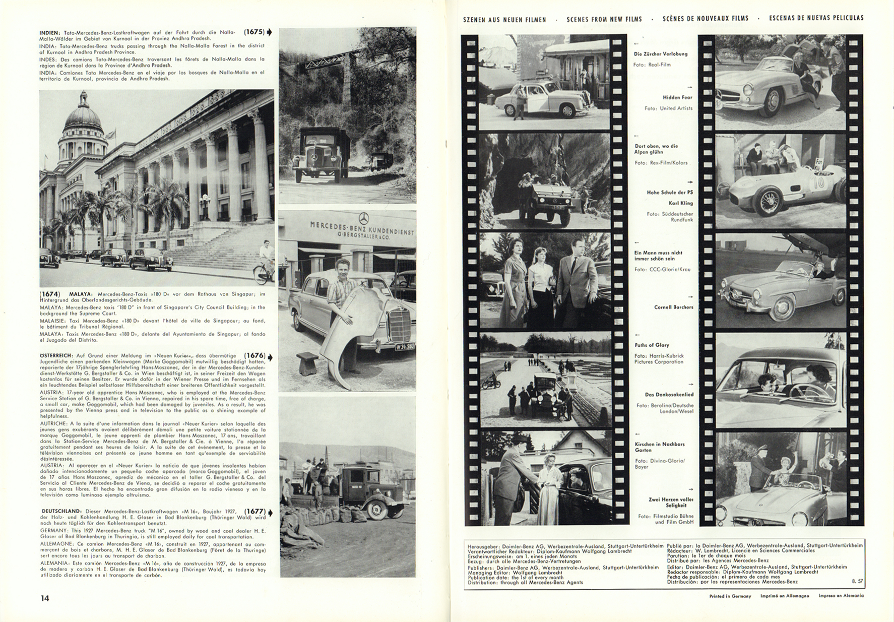 (REVISTA): Periódico In aller welt n.º 12 - Mercedes-Benz no mundo - 1957 - multilingue 008