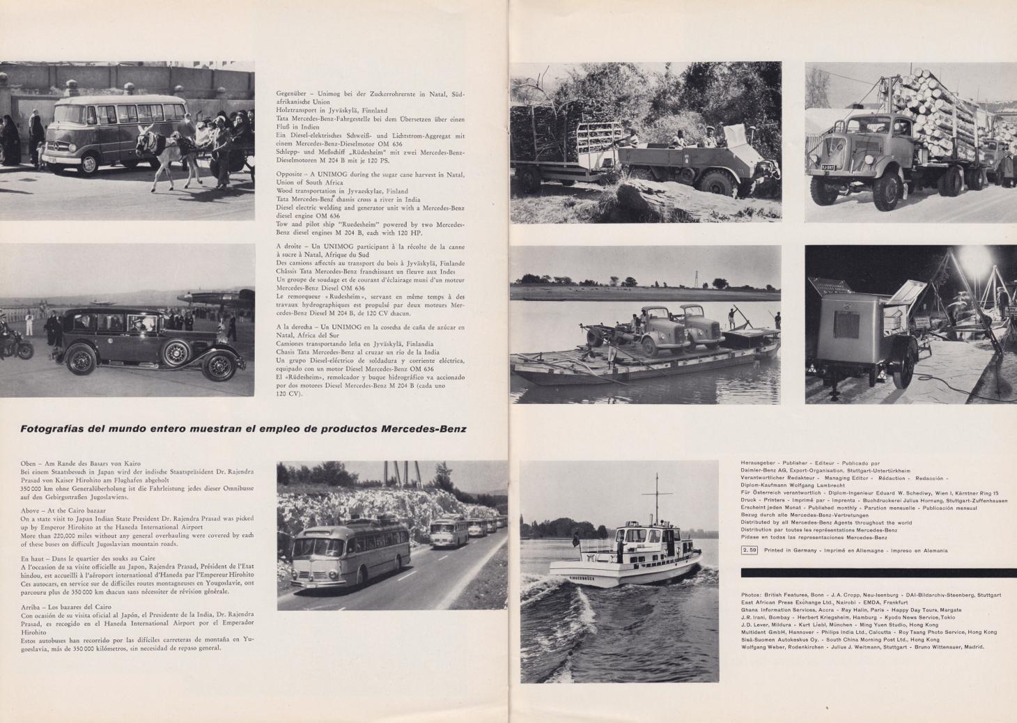 (REVISTA): Periódico In aller welt n.º 29 - Mercedes-Benz no mundo - 1959 - multilingue 012