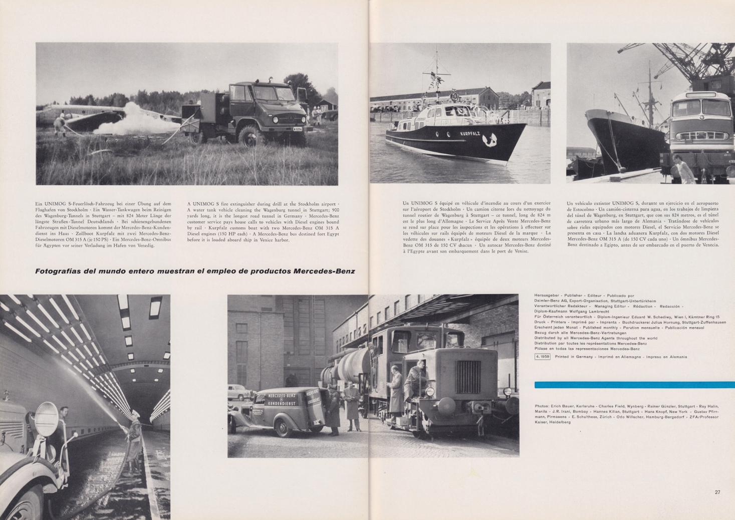 (REVISTA): Periódico In aller welt n.º 31 - Mercedes-Benz no mundo - 1959 - multilingue 014