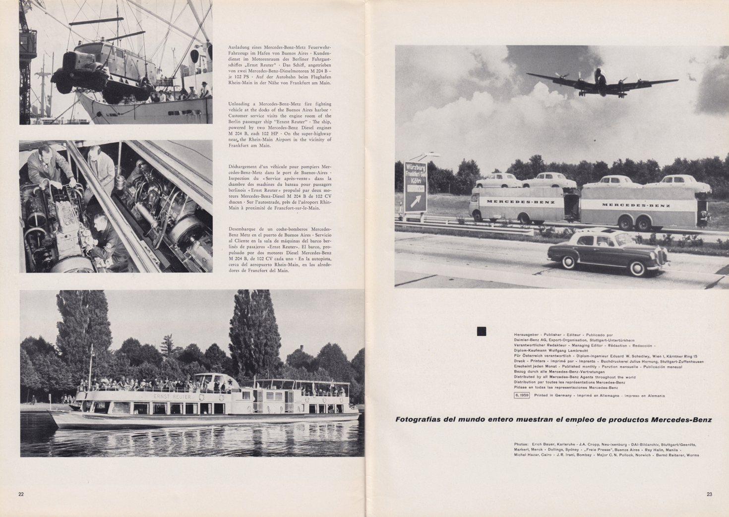 (REVISTA): Periódico In aller welt n.º 32 - Mercedes-Benz no mundo - 1959 - multilingue 012