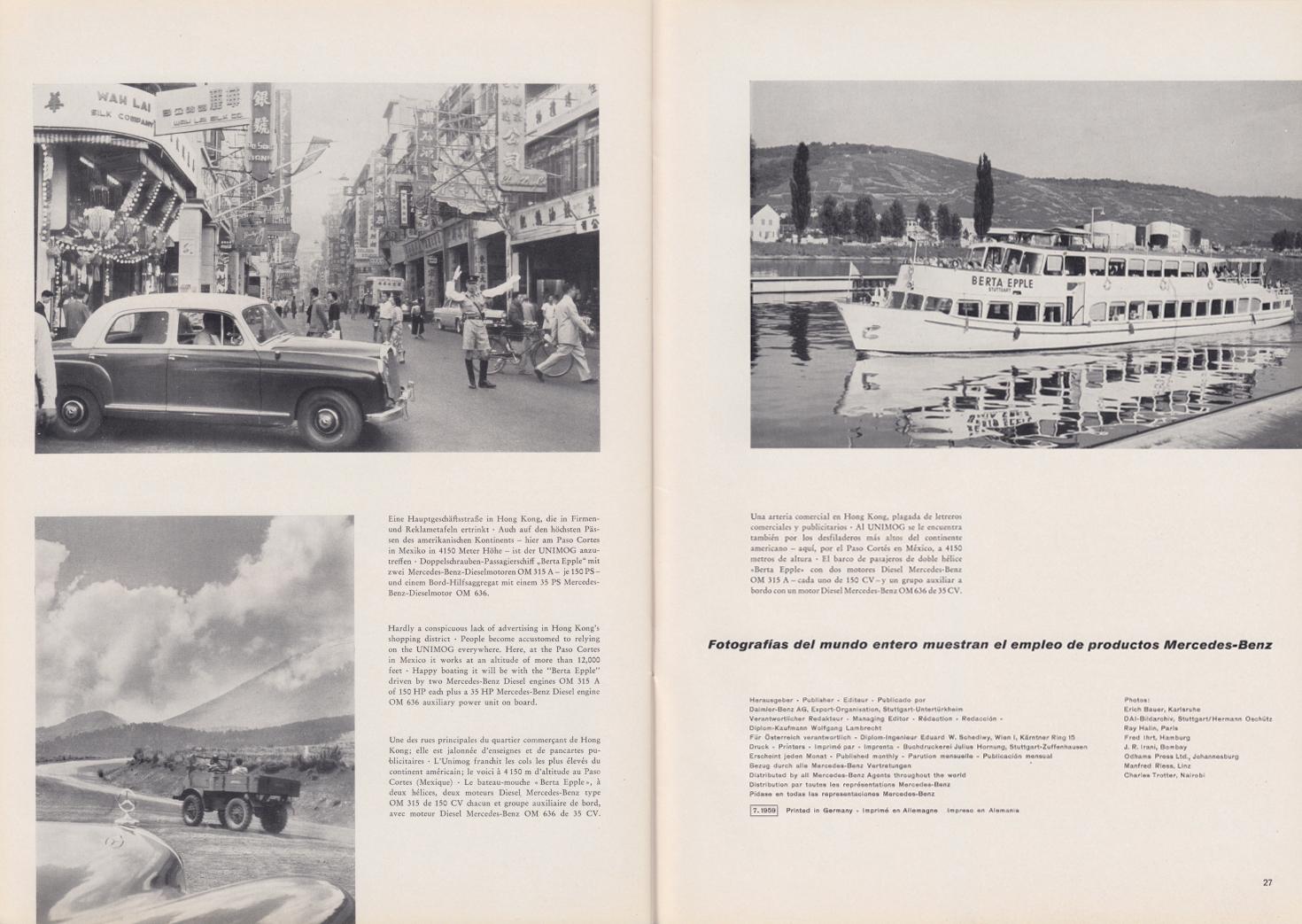 (REVISTA): Periódico In aller welt n.º 33 - Mercedes-Benz no mundo - 1959 - multilingue 014