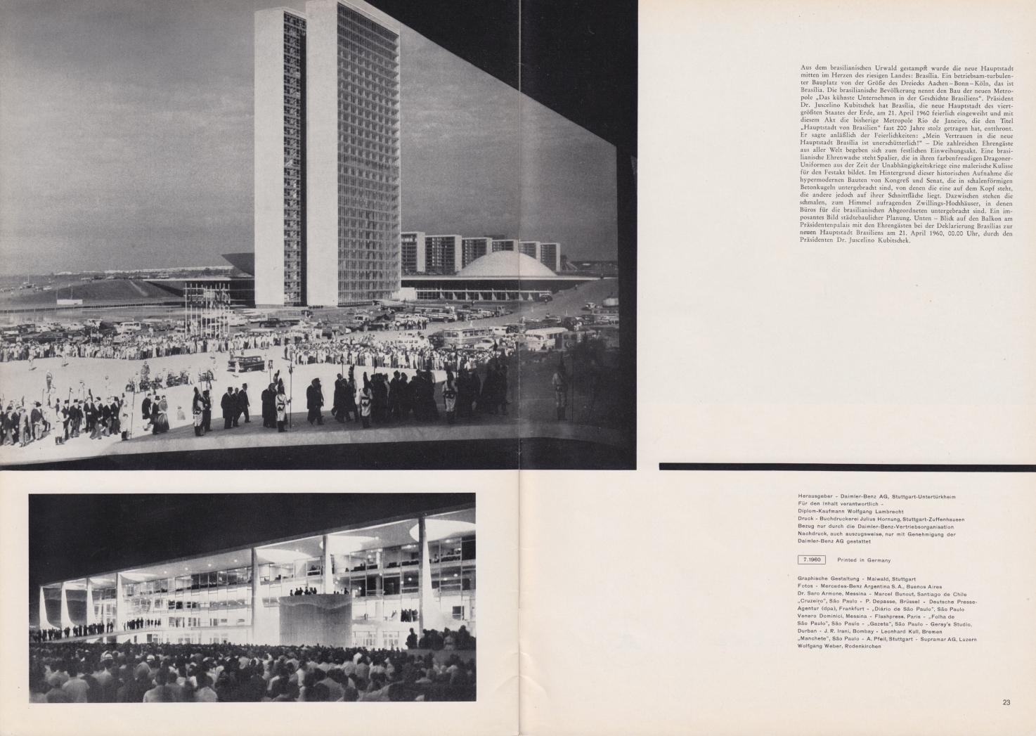 (REVISTA): Periódico In aller welt n.º 42 - Mercedes-Benz no mundo - 1960 - multilingue - com imagens do Brasil e construção de Brasília 014