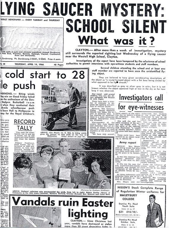 Explication pour l'incident de Westall de 1966 ? Plus grande observation de masse de l'histoire ? 2-75