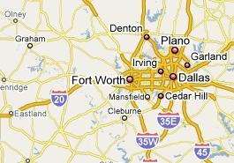 Un transport d'Ovni sur l'autoroute près de Dallas ? FortWorth_map