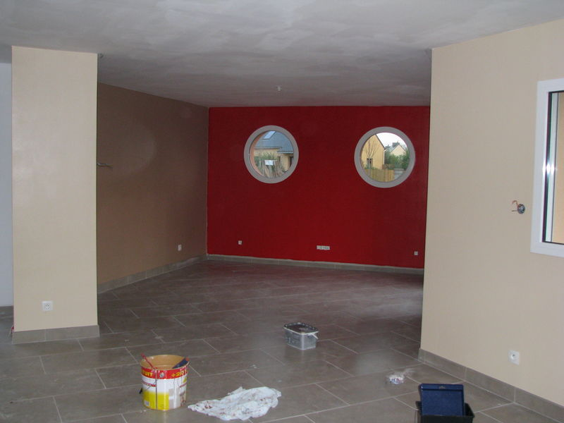 idée couleur murs salon/salle à manger meubles en chêne 32876455