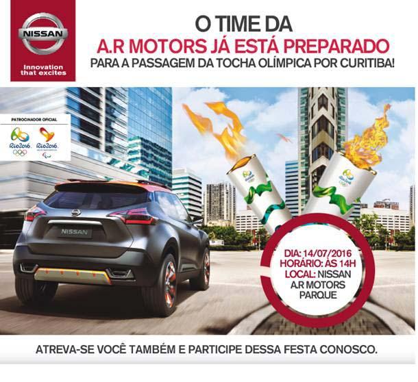 AR Motors Nissan apresenta crossover global Nissan Kicks e recebe Tocha Olímpica nessa semana Convite-route-stop-tocha-olimpica