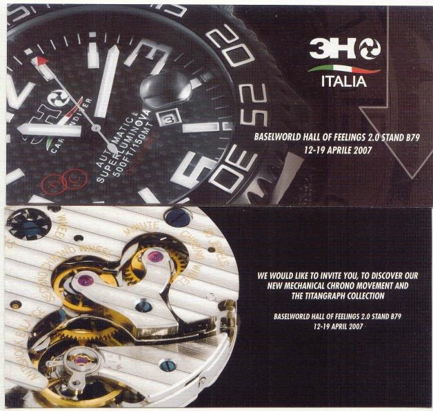 3H Italia –Calibre chrono manufacture à roue à colonnes 3hinvite