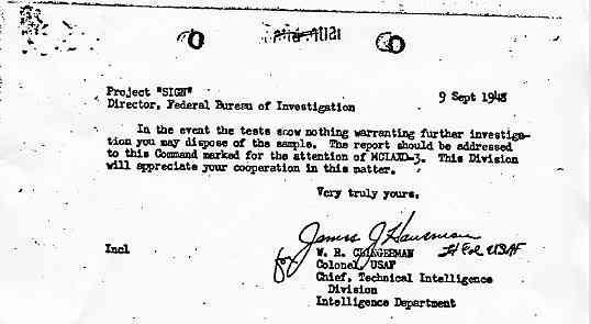 """(1948) FBI les OVNIs peuvent laisser des traces au sol par """"Air Materiel Command"""" Sign2_jpg"""