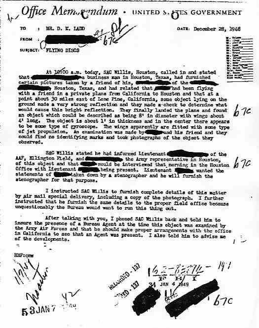 """(1950) Télétype top secret récupération des véhicules spatiaux """"étrangers"""" Memo281248_jpg"""