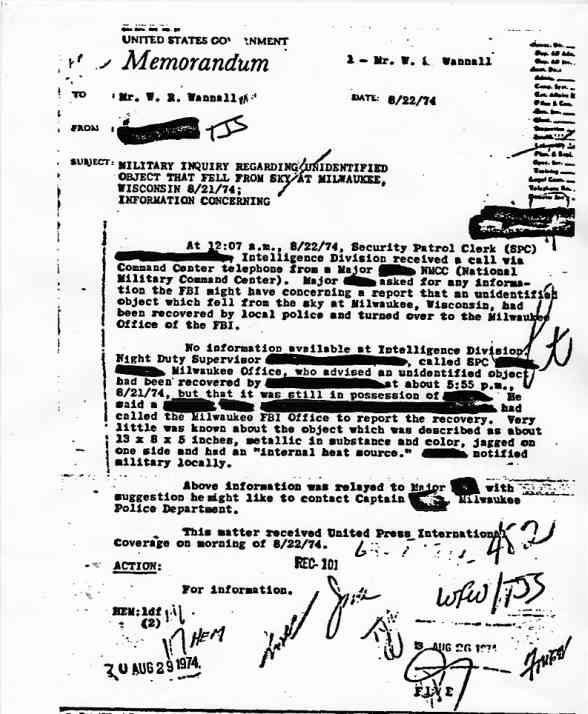 """(1950) Télétype top secret récupération des véhicules spatiaux """"étrangers"""" Milwaukee_jpg"""