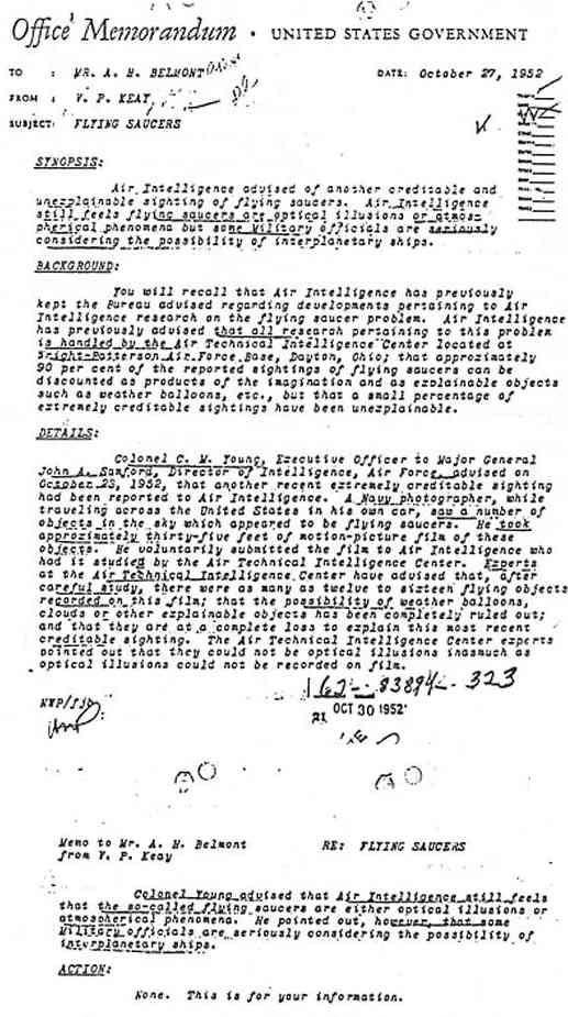 (1952) Document F.O.I.A les ovnis sont des vaisseaux interplanétaires! Memo271052_jpg