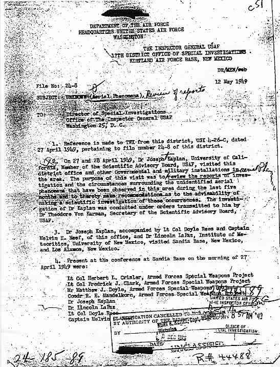 (1949) US Air Force le phénomène OVNI un problème pour la Sécurité Nationale  Kaplan1_jpg