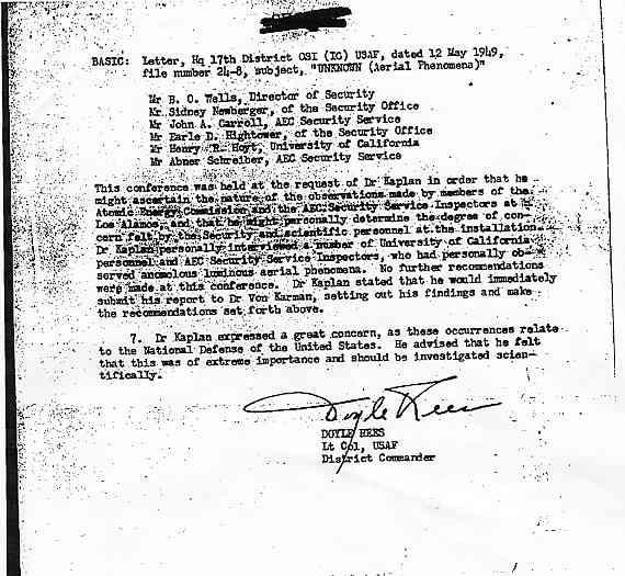 (1949) US Air Force le phénomène OVNI un problème pour la Sécurité Nationale  Kaplan4_jpg