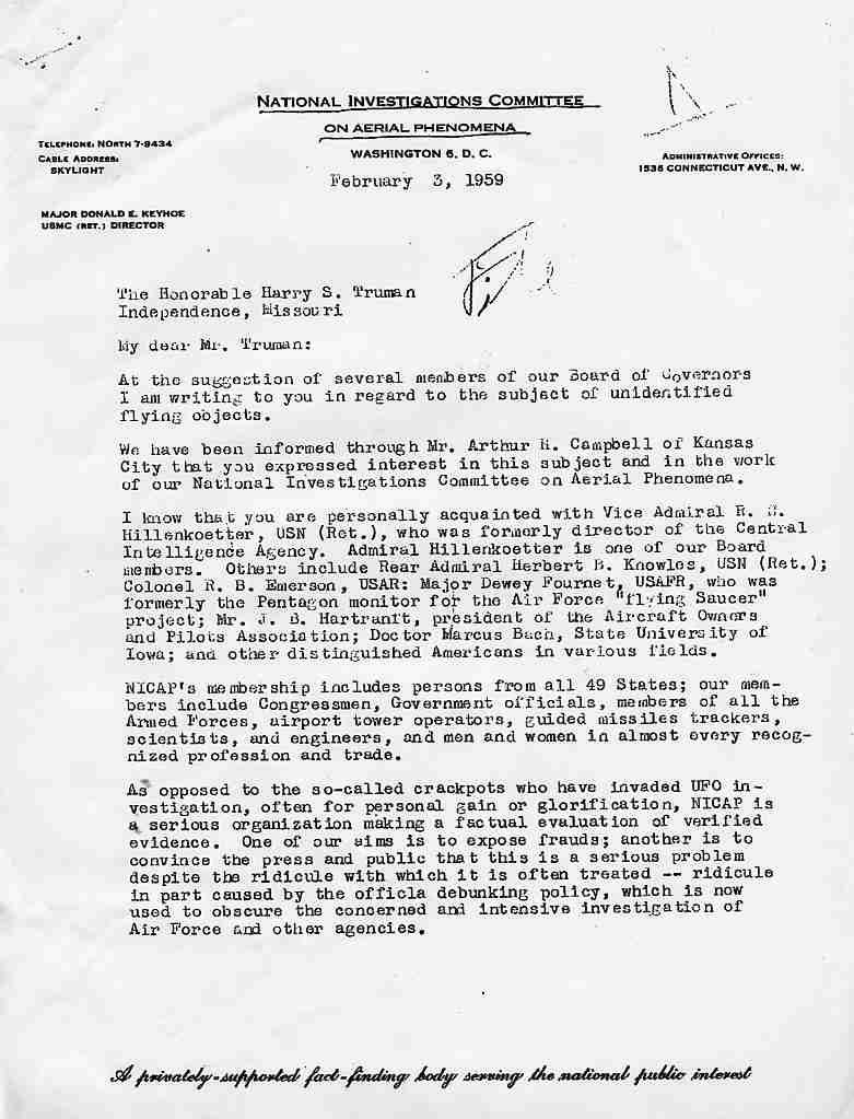 (1959) Le Major Keyhoe écrit au Président Truman Nicap1_jpg