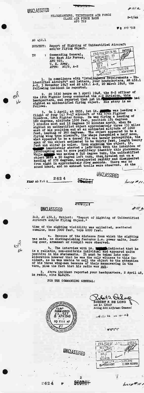 (1948) Document de l'US Air Force, issu du Projet SIGN  Clark1_jpg