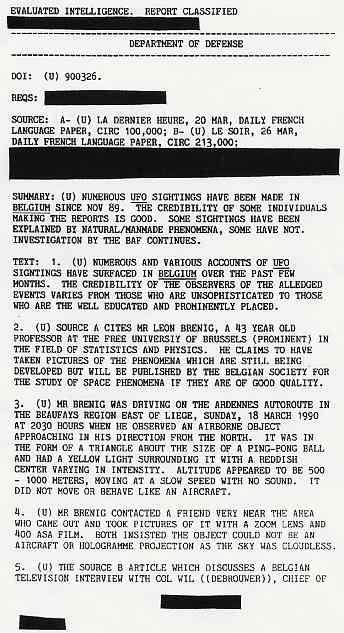 (1990) DIA document relatif aux observations de triangles en Belgique Belge1