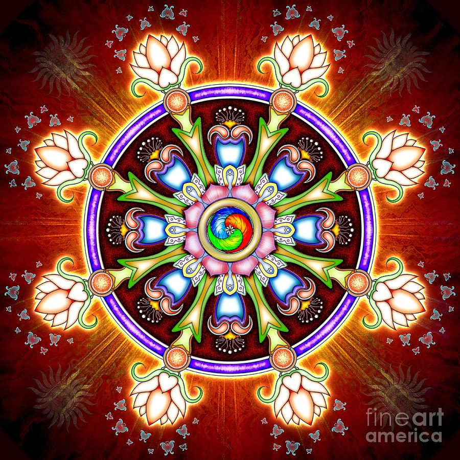 Méditation Lamrim Dharma-wheel-chakra-flower-dirk-czarnota