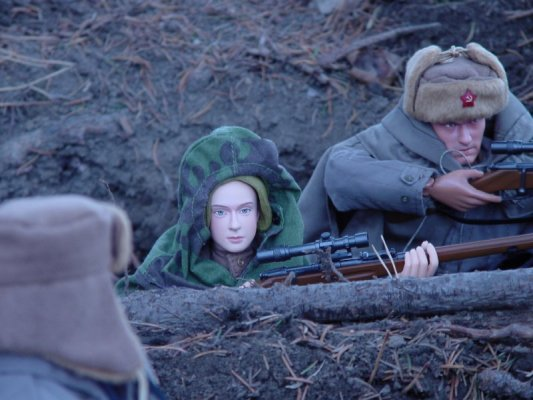 WW2 Russian snipers in the field  413836757