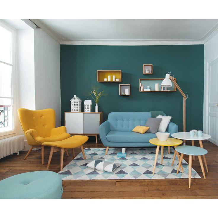 couleurs murs bureau pro Inspiration-deco-bleue-canard-salon