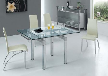 غرف طعام مصنوعة من الزجاج , ستايلات جميلة Mini-extending-table-glass-