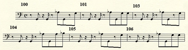 [Théorie Musicale]-Analyse de ma compo Freddy's Trance Mesures100a106basse