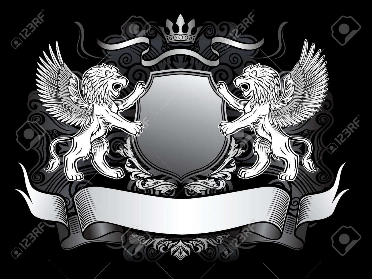 СВОБОДНЫЕ Внутриклан  СТАРТ 2 тур 13026134-Winged-Lion-Emblem-Stock-Photo