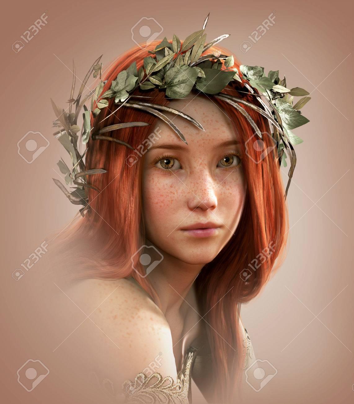 musica celtica 52623705-3d-computer-grafica-di-un-ritratto-di-una-giovane-ragazza-con-i-capelli-rossi-e-le-lentiggini-Archivio-Fotografico