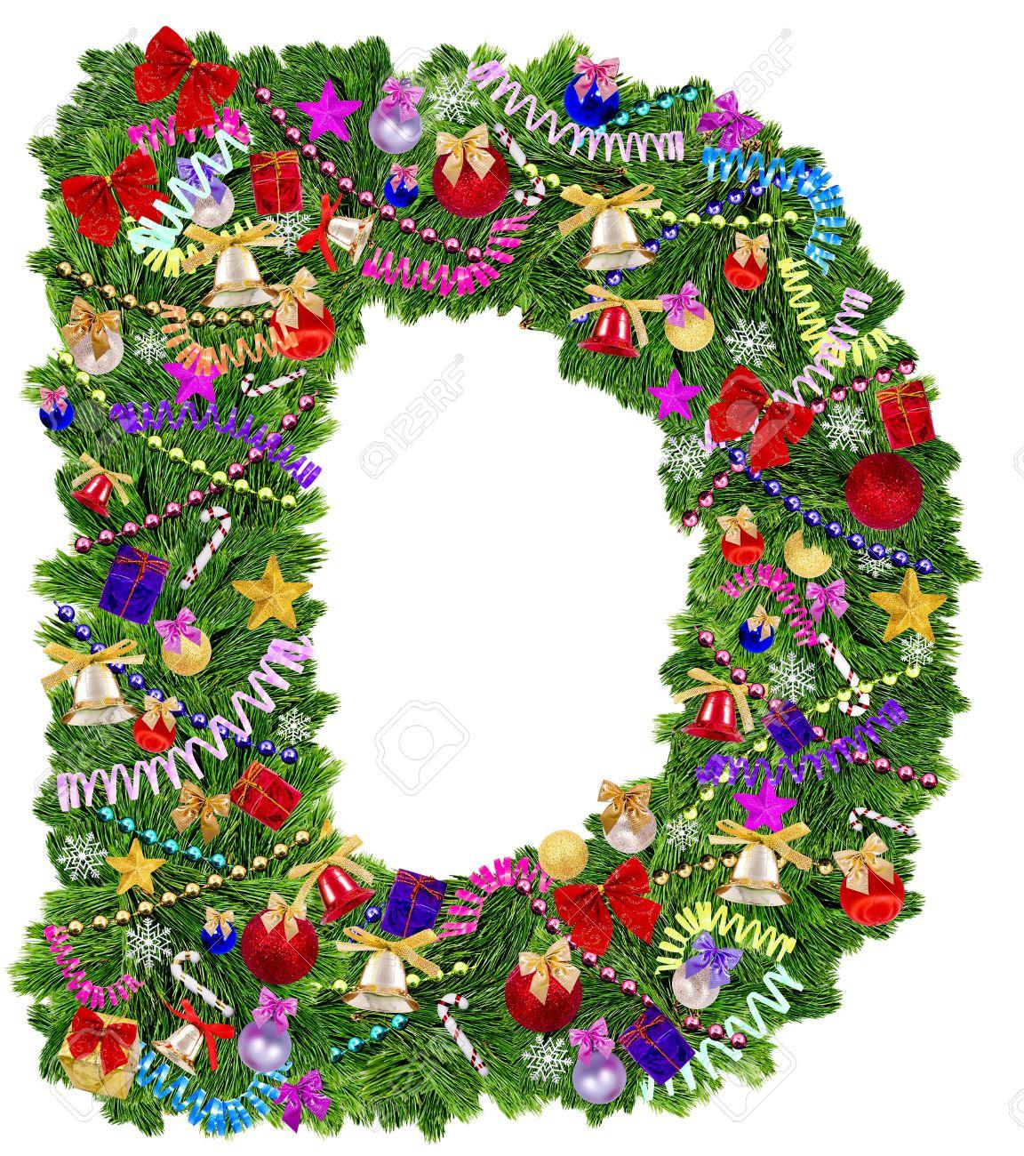 Oslikaj slova  azbuke - Page 21 16265793-Letter-D-Christmas-tree-decoration-on-a-white-background-Stock-Photo