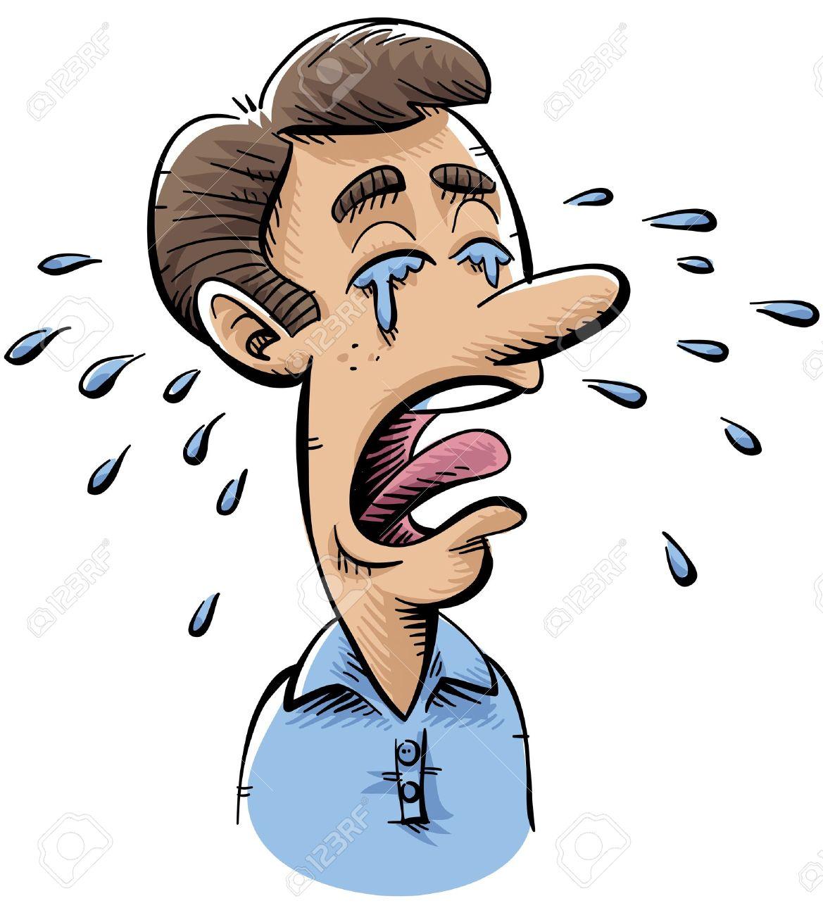 Cessons de nous plaindre ! Remercions plutôt Dieu pour Ses bienfaits ! - Page 35 16976869-Un-homme-de-dessin-anim-pleure-beaucoup-de-larmes--Banque-d%27images