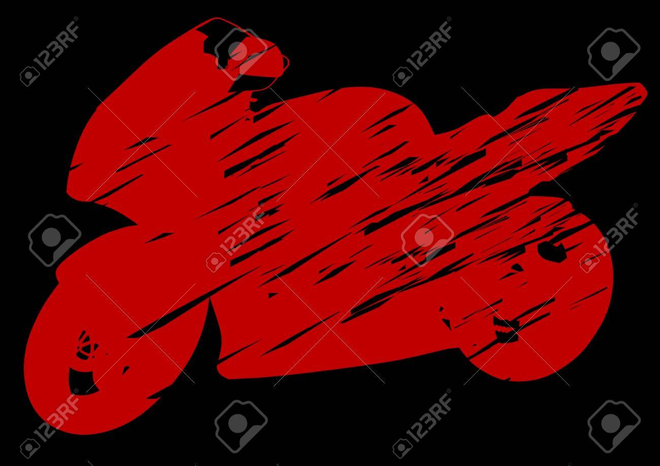 """MC """"Apskalotie"""" aktualitātes. 6486296-drawing-motorcycle-on-red-background-Silhouette-on-a-black-background-Stock-Vector"""