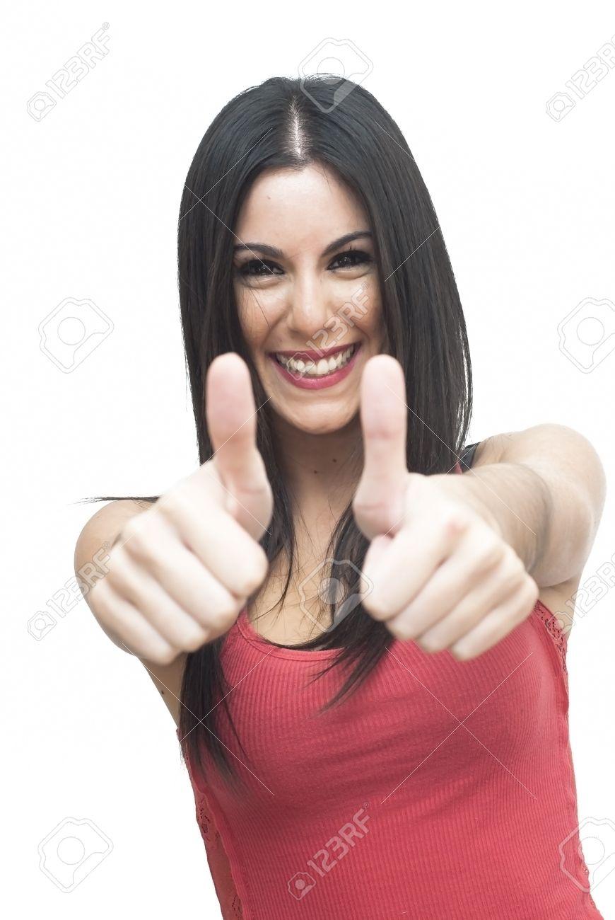 A los mderadores y usuarios.... Mil gracias. 25877700-Mujer-hermosa-con-su-dedo-pulgar-hacia-arriba-sobre-fondo-blanco-Foto-de-archivo