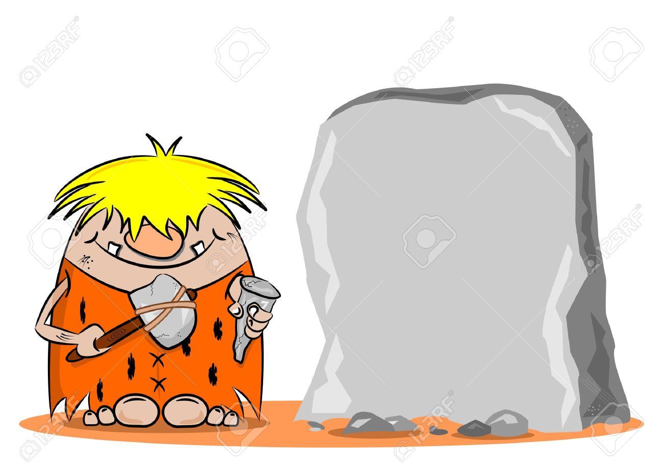 ARQUEOLOGOS ENCUETRAN UNA MONEDA DE MAS DE 5000 AÑOS EN UNA CAVERNA 20407425-Un-cavern-cola-de-dibujos-animados-con-un-martillo-y-un-cincel-junto-a-una-roca-en-blanco-Foto-de-archivo