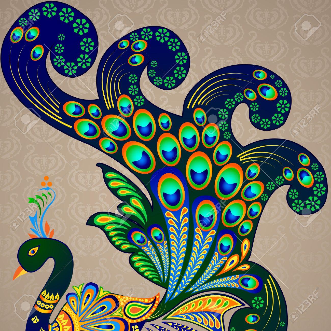 عم تتحدث الصور عن جمال الطاوس 20916021-Colorful-Decorated-Peacock-Stock-Vector-peacock-design-floral