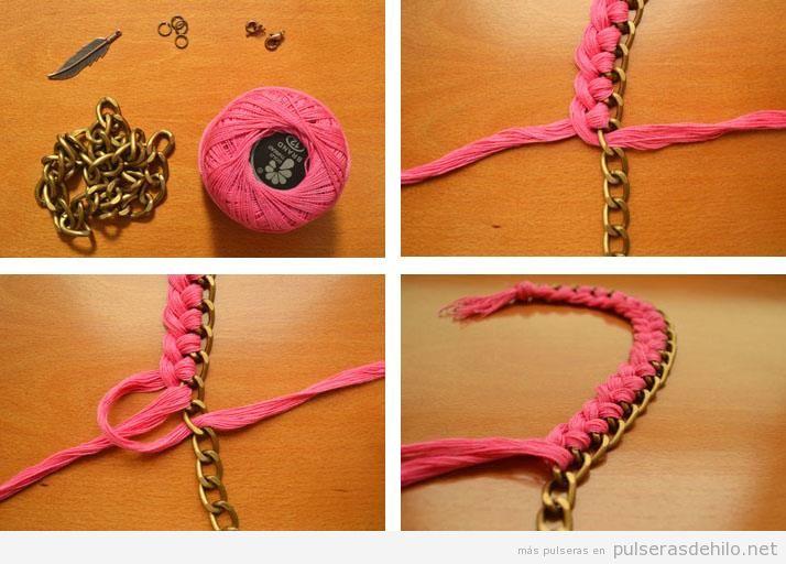 Pulsera hecha con cadena e hilo trenzado, tutorial Pulsera-diy-facil-original-paso-a-paso-cadena-hilos-tutorial