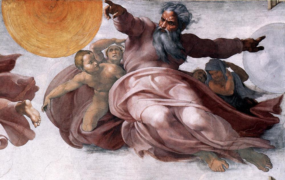 Michelangelo Buonarroti  14097-creation-of-the-sun-moon-and-plan-michelangelo-buonarroti