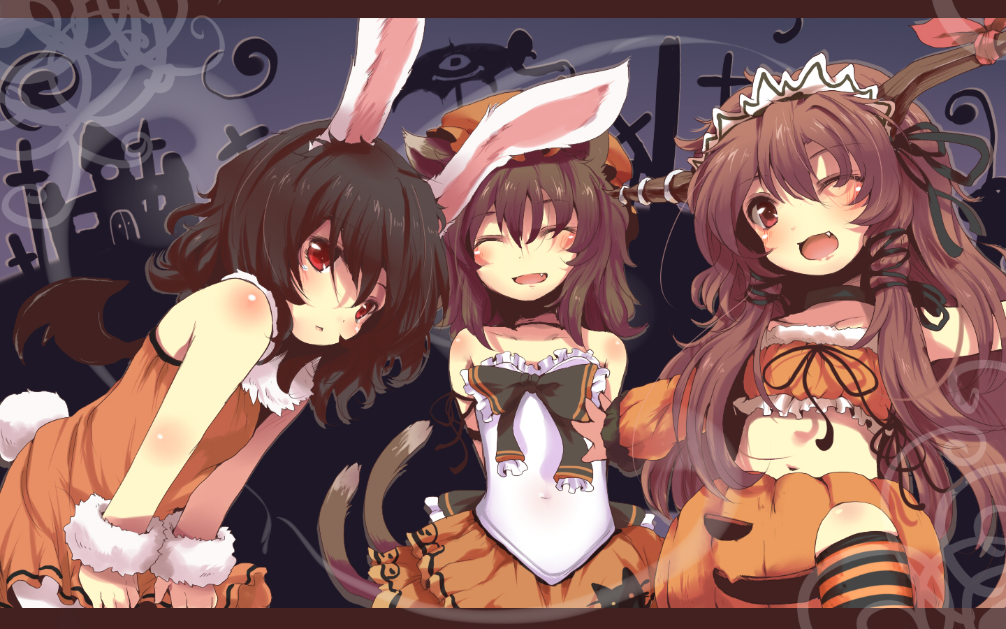 Limited - Halloween Graphics~! <3 Konachan-com20-2061455203girls20animal_ears20chen20halloween20ibuki_suika20inaba_tewi20nejime20tail20touhou20wings