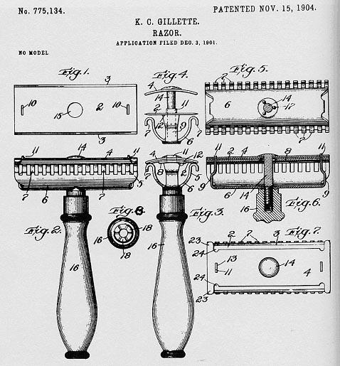 Rasage avec lames jetables Gillette_brevet